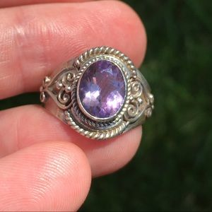 Amethyst sterling silver vintage boho ring